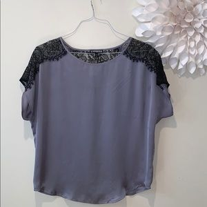 Super cute lace and satin blouse
